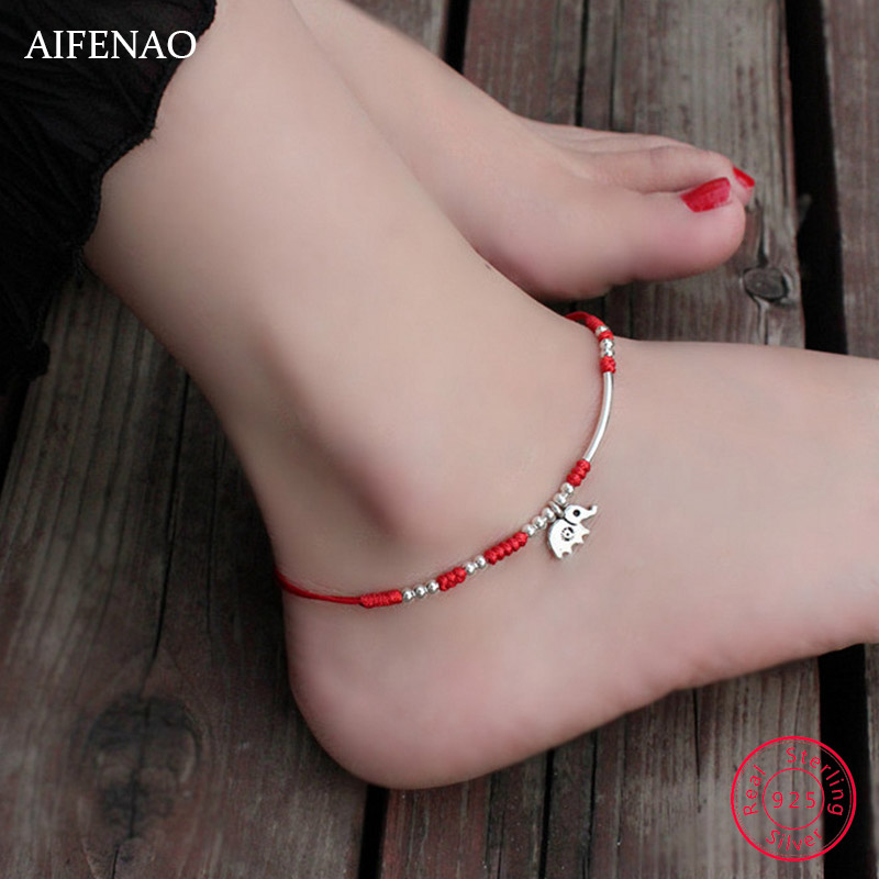 Elephant 925 Sterling Silver Womens Anklets Jewelry Charm Lucky Rope Handmade Ankle Bracelet Red Thread Foot Chain Anklet