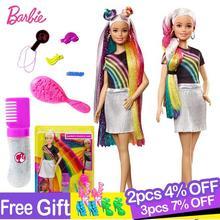 Barbie fashionistas arco íris brilho cabelo boneca com acessórios e roupas barbie brinquedos moda menina brinquedos boneca para meninas