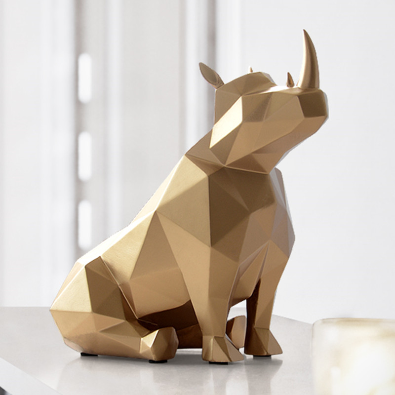 European Creative Resin Gifts Statue Tabletop Decor For Office Home Decorations Rhinoceros Statue Desk Ornaments X4238