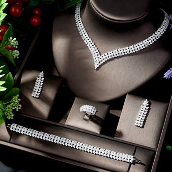 HIBRIDE Gorgeous AAA Cubic Zircon Wedding Bride Jewelry Sets for Women Leaf Design Earring and Necklace Set Bijoux Femme N-1206
