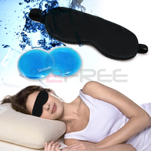 [2-й 50% скидка]новый расслабляющий охлаждения или нагрева здоровья облегчение боли глубокого сна 100% Шелковый черный маска для глаз Гель тени колодки в том числе