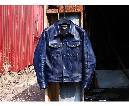 YR!Free Shipping.2020 New Coat, Classic Casual 507  Indigo Tanned Cowhide Jacket,1.1mm Genuine Leather Outwear,fashion Slim