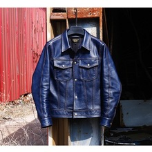 Cowhide Jacket Coat Genuine-Leather Casual New Slim Free Fashion Outwear Classic Indigo