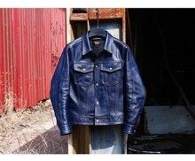 Yr! grátis shipping.2020 novo casaco, clássico casual 507 indigo curtido jaqueta de couro, 1.1mm outwear couro genuíno, moda magro
