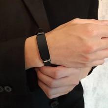Vnox 15mm dostosować ze stali nierdzewnej stalowa bransoletka dla mężczyzn silikon regulowany guma pasmo na co dzień bransoletki prezent dla niego rodzina mąż