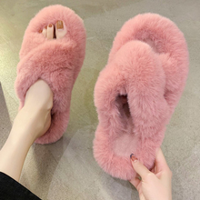 Fur Slippers House Fluffy-Shoes Cozy Open-Toe Plush Girls Winter Fashion Women Indoor