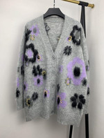 Floral Mohair Knit Women Cardigan Sweater 2020 Autumn And Winter V neck Long Sleeve Knitwear Coat Top