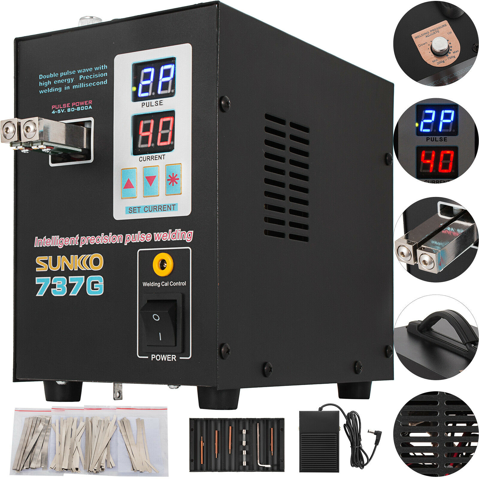 Portable Dual Wield Mod Pedal Battery Spot Welder 220V Dual Pulse LCD Display Precision Battery Touch Welders