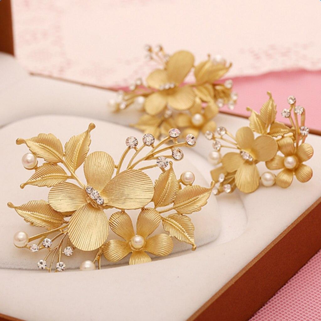 3pcs /Set Gold Wedding Bridal Flowers Pearls Butterfly Hair Clip Hair Pins Elegant Luxury Flower Bridal Hair Combs Headdress