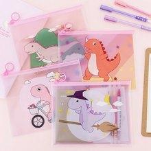 Transparent Dinosaur Cartoon Document Bag File Folder Pencil Case Stationery Holder Organizer Travel Cosmetic Storage Kit Box(China)