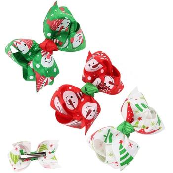 цена на 2pcs Baby Girls Bow Flower Small Barrettes Newborn Cute Christmas Hairpins Headwear Kids Hair Clips Headband Hair Accessories
