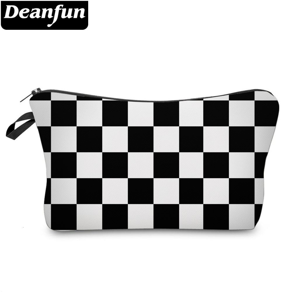 Deanfun 3D Printing Small Makeup Bag Black And White Purse Bags Mini Cosmetic Bags For Purses Toiletry Bag For Women Gift 51782