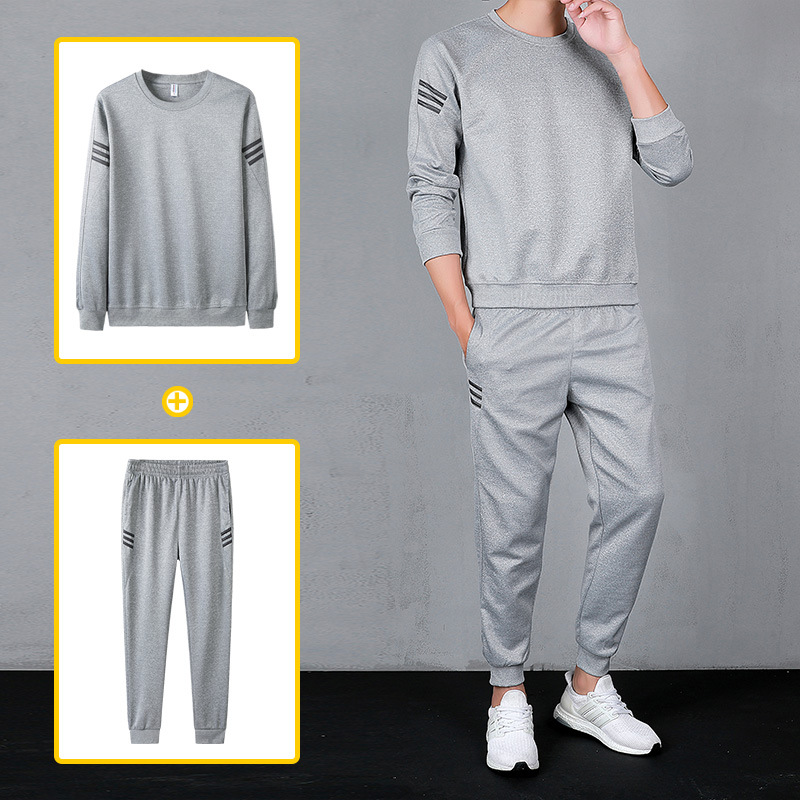 Middle-aged Student Uniform Set Men's Spring Long Sleeve Trousers Jogging Suits Crew Neck Large Size BOY'S Sports Set Middle-age