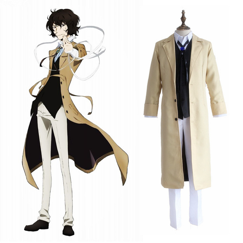 Bungo Stray Dogs Armed Detective Agency Osamu Dazai Cosplay Trench Coat Suit Pants Wig Literary Vest Halloween Carnival Costume