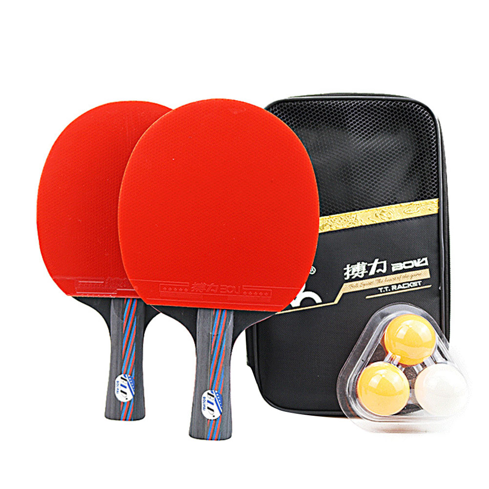 2Pcs Table Tennis Racket Set Upgraded With 3 Balls Lightweight Powerful Ping Pong Paddle Bat With Good Control 14.7*25.7cm