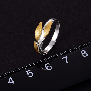 Image 5 - 蓮楽しいリアル 925 スターリングシルバー 18 18kゴールドリング手作りのクリエイティブシンプルなデザイン葉リング女性のためのビジュー