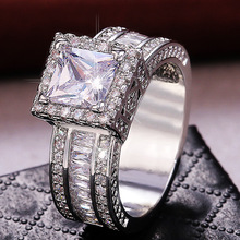 Luxury Sparkling Cubic Zirconia Ring Bridal White Blue Crystal Wedding Engagement Jewelry Silver Color for Women Gift