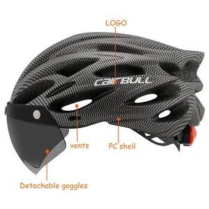 Image 3 - Casco de bicicleta de montaña moldeado integralmente con gafas extraíbles, ajustable, para ciclismo, unisex