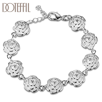 DOTEFFIL 925 Sterling Silver Full Rose Flower Chain Bracelet For Women Wedding Engagement Party Fashion  Jewelry