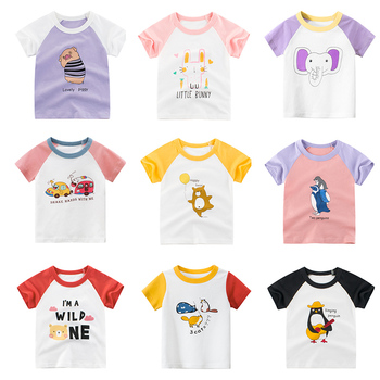 Girls T-Shirts Children Kids Baby Toddler Boys Infant Tops Short Sleeve T-Shirt children's Cotton  T-shirts Tees  Cartoon Print girls monogram ruffle sleeve raglan shirts multiple colors monogramable raglans toddler girls icing shirts christmas icing tops