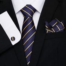 купить New Gold Blue Striped Tie Silk Woven Men Tie Necktie Hanky Cufflinks Set Luxury Men's Party Wedding Pocket Square Tie по цене 273.55 рублей