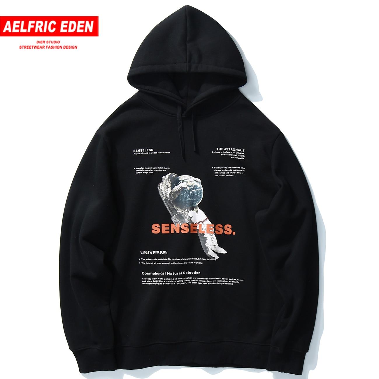 Aelfric Eden Harajuku Hoodie Mens 2020 Hip Hop Streetwear Hoodie Spaceman Print Loose Sweatshirts Autumn Winter Fleece Pullover