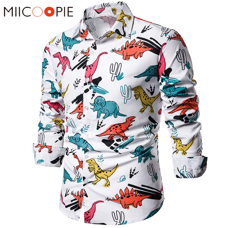 Funny Cartoon Dinosaur Printed Hawaiian Shirts Men Fashion Casual Long Sleeve Social Slim Fit Dress Shirts Korean Clothes Men