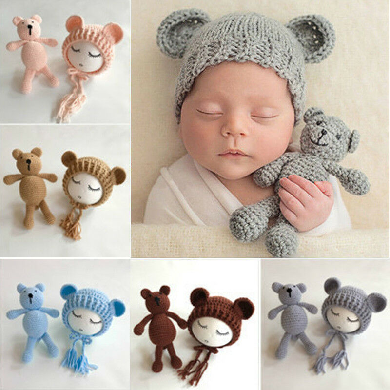 New Arrival Bear Hat Set Plush Stuffed Animals Handmade Plush Toys Knitted Plush Toy Crochet Stuffed Toy Baby Photography Props