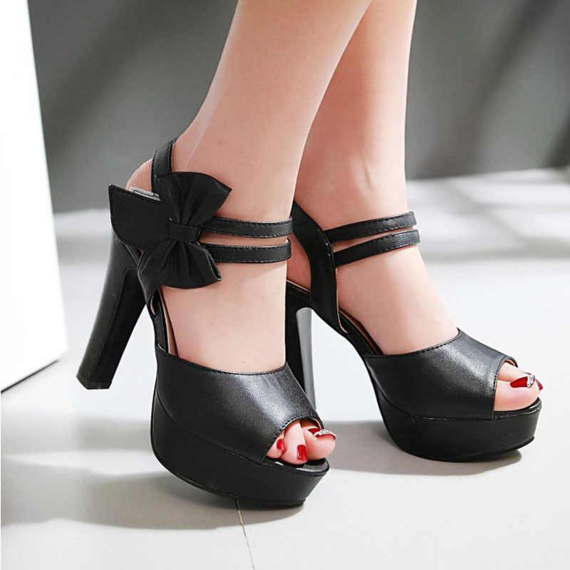 Plus Kích Thước Chắc Chắn Máy Bơm Cưới Giày Nữ Giày Nữ Móc & Vòng Lặp PU Gót Dày Platforrn 11.5 Cm Cao Cấp Đảng giày Nữ 34-43