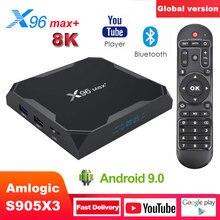 X96最大プラススマートテレビボックスアンドロイド9.0 amlogic S905X3クアッドコアDDR3 4ギガバイト64ギガバイト2.4グラム/5ghz無線lan bt 100メートル4 18k googleプレーヤーX96Max +