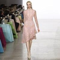 Vintage Lace Patchwok Long Sleeve Print Irregular Dress Spring Summer Autumn Clothing Elegant Dress Women Slim Fashion Dresses