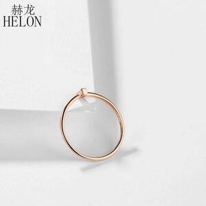 Image 3 - Женское кольцо с натуральным бриллиантом HELON, кольцо для помолвки из розового золота 18 К с огранкой багета AU750 0,05ct SI/H, модные ювелирные украшения