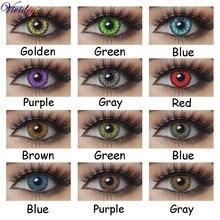 1 par 3 tone colorido lentes de contato para olhos cosméticos beleza colorida lentes de contatos cor azul anual lente de contato olho