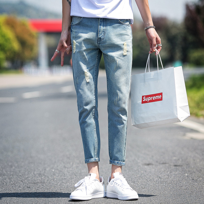 Summer New Style Men With Holes Capri Jeans Korean-style Trend Slim Fit Skinny Pants Ripped Jeans Men's 9 Points Pants