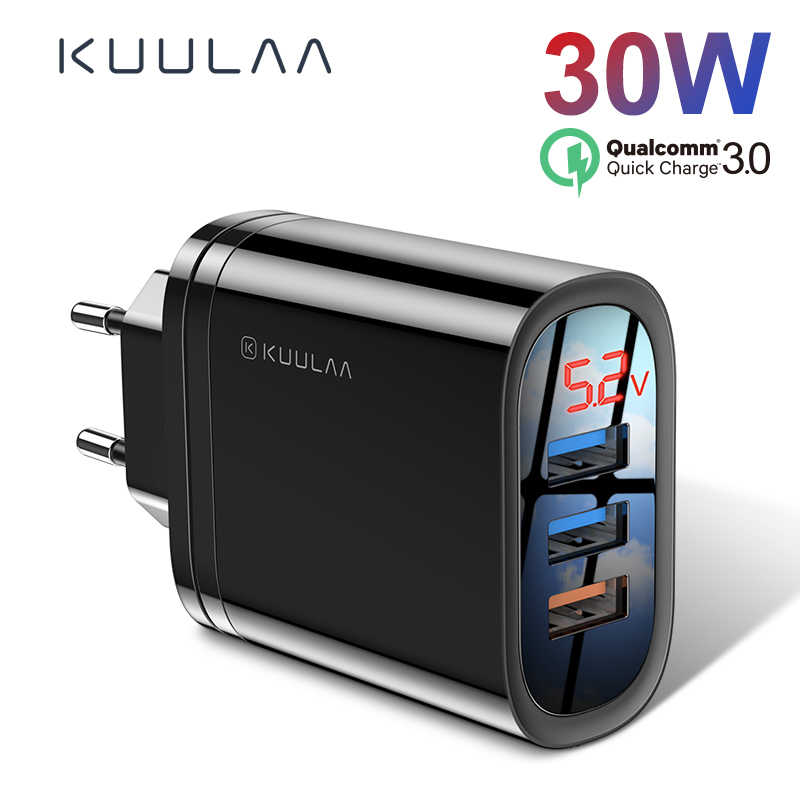 KUULAA Charge rapide 3.0 USB chargeur 30W QC3.0 QC Charge rapide Multi prise chargeur de téléphone portable pour iPhone Samsung Xiaomi Huawei