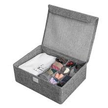 Моющийся ящик для хранения бюстгальтера и нижнего белья с чехлом, льняные складные Чехлы, галстуки, носки, нижнее белье, органайзер для одежды, контейнер для бюстгальтера