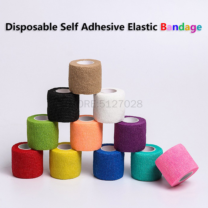 Disposable Self Adhesive Elastic Bandage Tape For Handle With Tube Tightening Of Tattoo Accessories Random Color X1