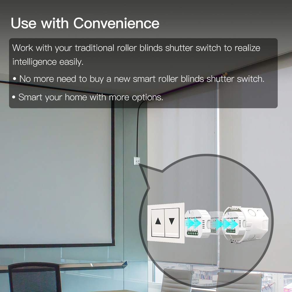 Tuya Smart Life WiFi RF433 Blind Curtain Switch with Remote for Electric Roller Shutter Sunscreen Google Home Alexa Smart Home
