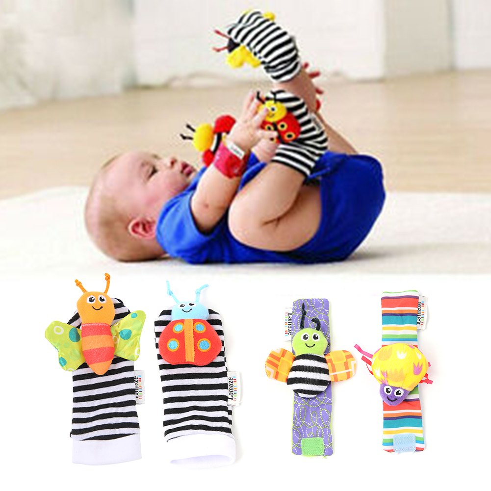 4Pcs Kids Gift Socks Infant Soft Cute Stroller Baby Rattles Funny Cartoon Foot Finders Dolls Animal Toys