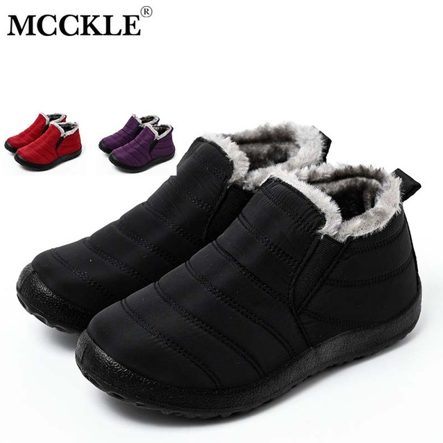 Botas de neve MCCKLE Botas femininas de pelúcia quente e pelúcia Botas femininas de inverno Calçados casuais à prova d'água Calçados ultraleves 3