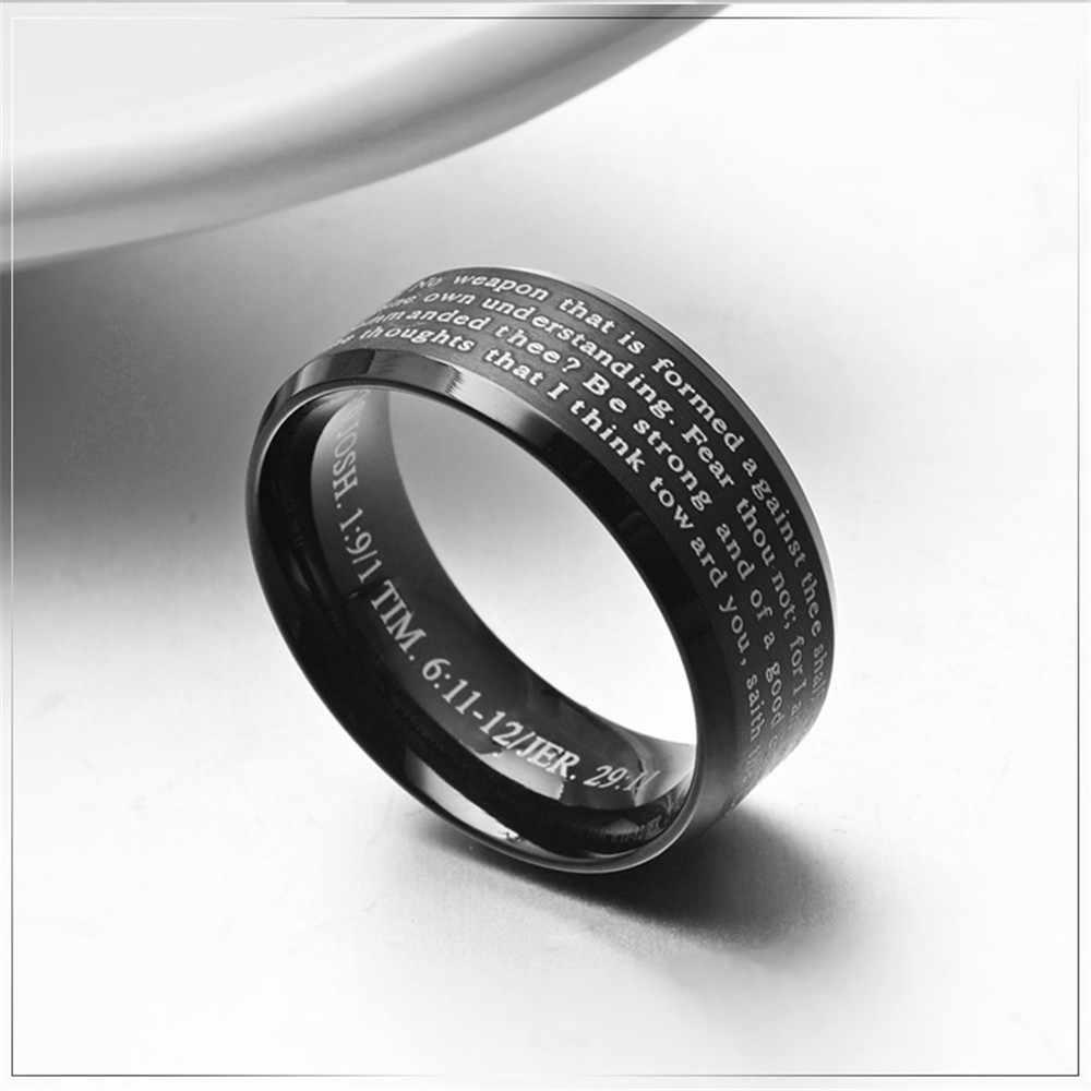 ร้อนสแตนเลสสตีลเงินสีดำตัวอักษรตกแต่ง Cross รูปแบบแหวนผู้ชายแฟชั่น Lord of the Rings เครื่องประดับ
