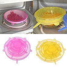 6 шт многоразовые закуски прокладывания проводки Para Alimentos крышки растягивающиеся из силикона для остальных Еда сохраняющий свежесть крышка стрейч