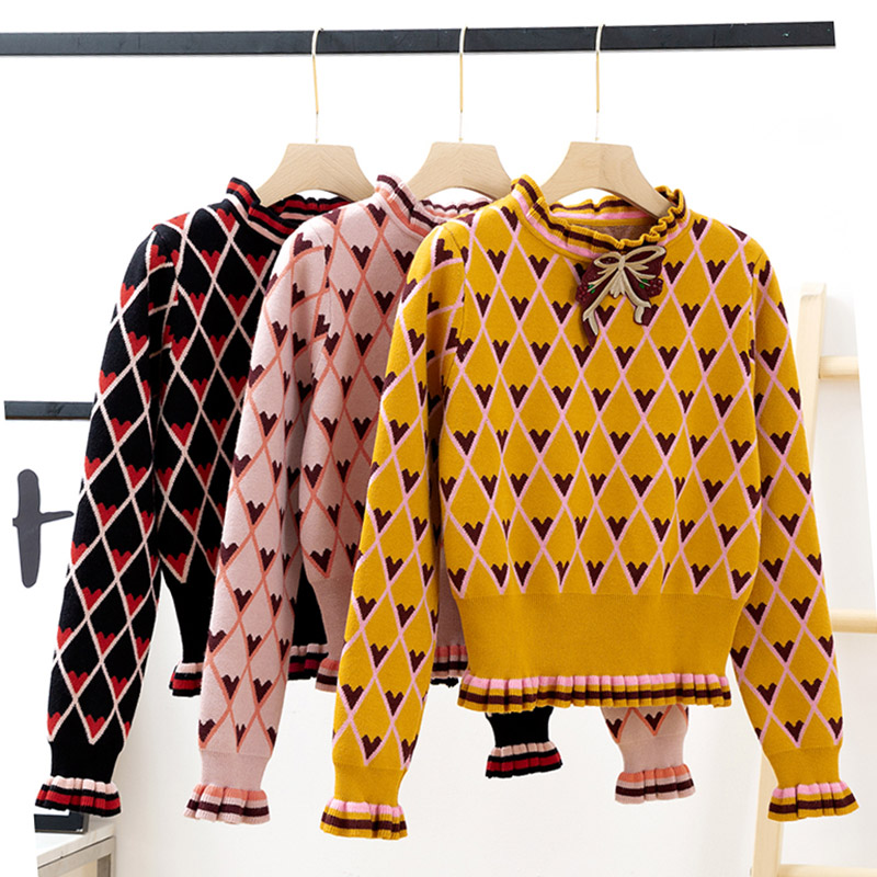 2018 Winter Contrast Color Patchwork Jacquard Knit Sweater Women Bow Heart Argyle High Waist Sweater Sweet Kawaii Pullovers New