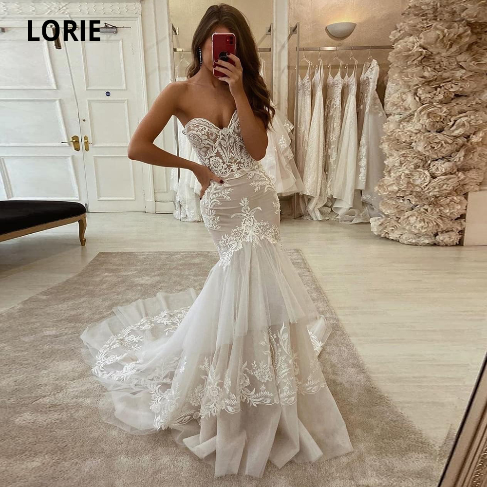LORIE 2020 New Mermaid Wedding Dresses Lace Appliques Strapless Wedding Gowns Princess Party Turkey Vintage Bridal Gowns