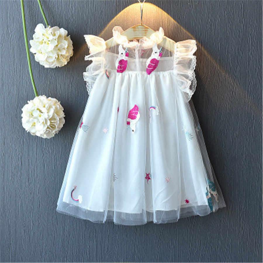 فستان صيفي ملابس فتاة فساتين يونيكورن الاطفال أكمام الدانتيل منفوش الفتيات ملابس حفلة عيد ميلاد سوبر ستار تصميم Vestidos