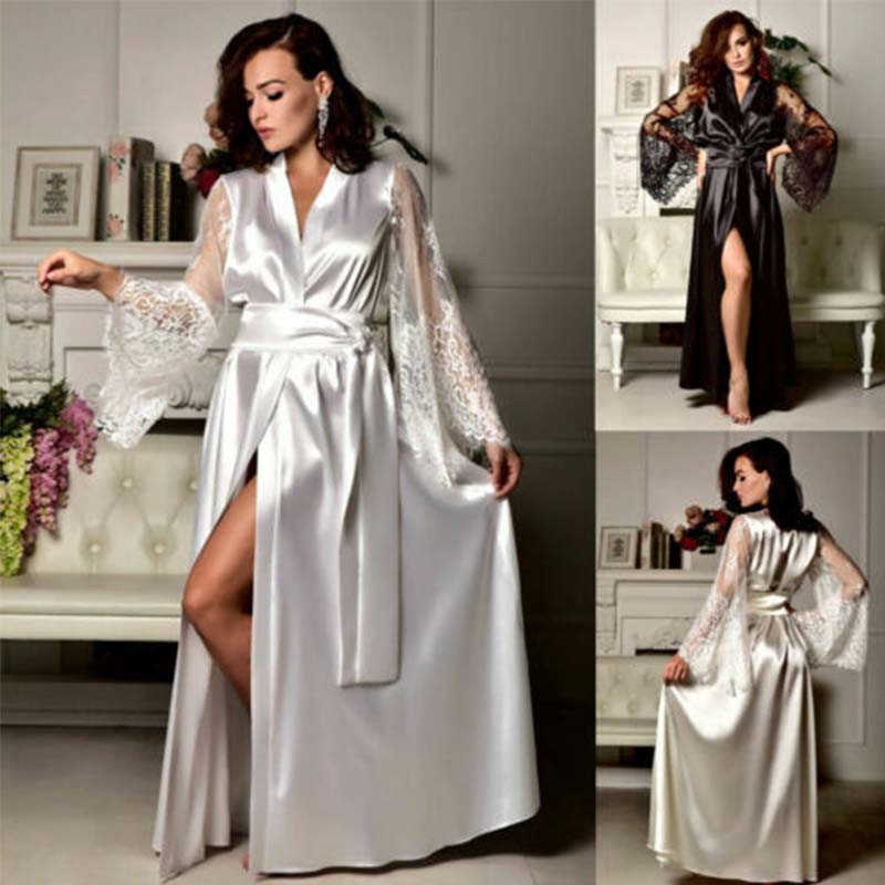 Lingerie Gown Nightdress Lace Women Kimono Pajama Sleepwear Long Robe Silk Satin