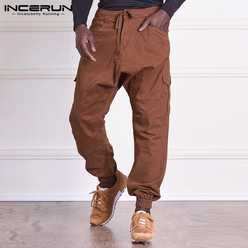 INCERUN Fashion Men Cargo Pants Drawstring Loose Multi Pockets Harem Trousers Men Joggers Solid Color Streetwear Casual Pants