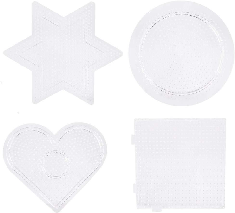 4pcs/set Hama Beads Pegboards, 2.6mm Mini Pegboards Plate Transparent Plastic Design For DIY Children Craft Beads Pegboards