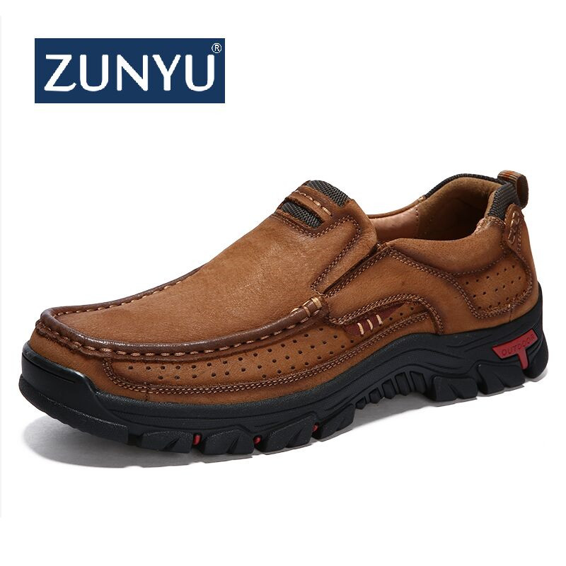 ZUNYU New Genuine Leather Loafers Men Moccasin Sneakers Flat High Quality Causal Men Shoes Male Footwear Boat Shoes Size 38-48(China)