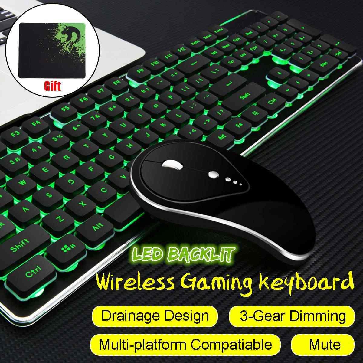 Wired /Wireless Gaming Keyboard e Mouse Set Arcobaleno Retroilluminata USB Tastiera RGB HA CONDOTTO Il Mouse Pad Combo Set Per PC gamer Computer Portatile